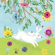 Spring Snow Hares Greeting Card