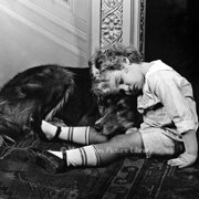 Boy and dog asleep, Greeting card