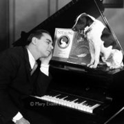 Tired man and dog with piano, Greeting card