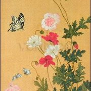 Poppies, Butterflies and Bees (Detail), Greeting Card
