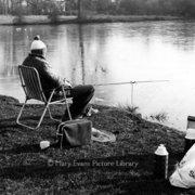 Fishing by lake, Greeting card