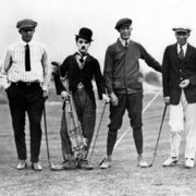 Charlie Chaplin with golfers, Greeting card