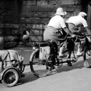 Old couple on tandem, Greeting card