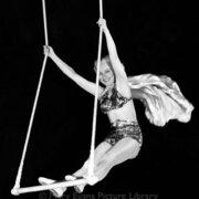 Woman acrobat on swing, Greeting card