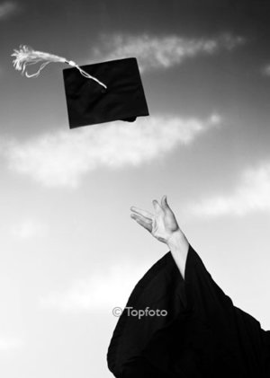 Mortar board in the air, Greeting card