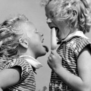 Two girls licking lolly, Greeting card