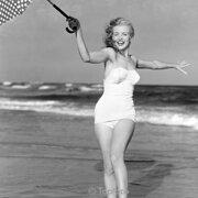 Marilyn Monroe on beach, Greeting card