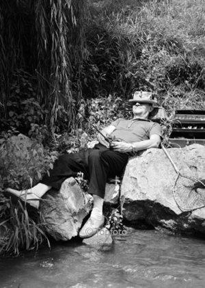 Sleeping man fishing, Greeting card