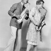Couple playing saxophones, Greeting card