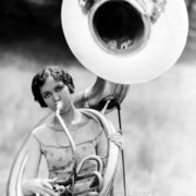 Woman plaing French horn, Greeting card