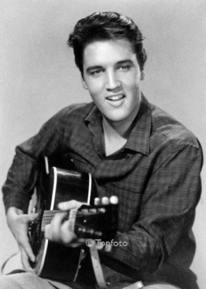 Elvis with guitar, Greeting card