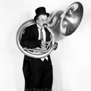 Man playing French horn, Greeting card