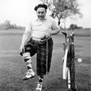Golfer wearing tartan trousers, Greeting card