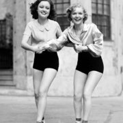 Two women on roller skates, Greeting card