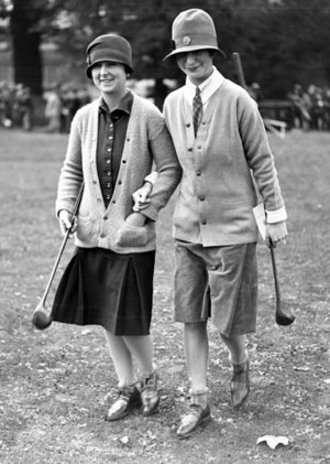 Two women golfers, Greeting card