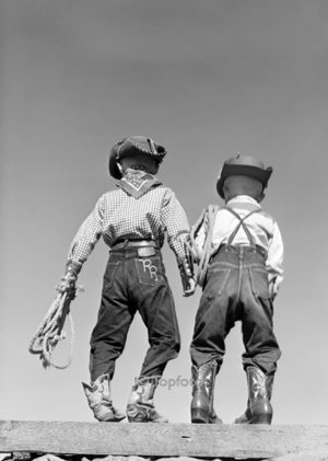 Two small cowboys, Greeting card