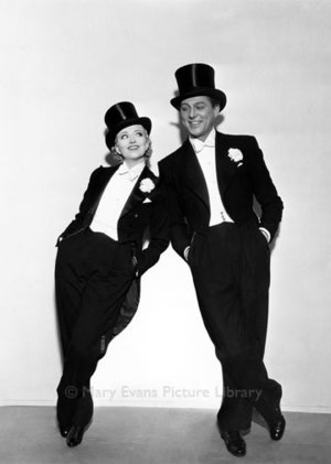 Couple with top hats and tails, Greeting card