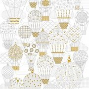 Hot Air Balloons Gold Foil Coloring Poster