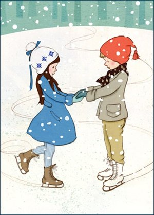 Shall we Skate , B & B Xmas Postcards