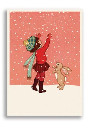 Catching Snow, Belle & Boo Playtime Xmas Postcards