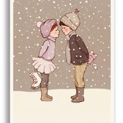 Winter Kiss, Belle & Boo Playtime Xmas Postcards