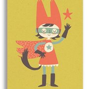 Super Hero Girl, Paper & Cloth Postcards
