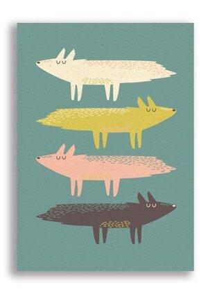 Fox Stack, Paper & Cloth Postcards