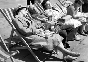Snoozing in Deckchair, Greeting Card