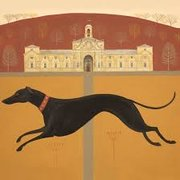 Dark Dog Dashing, Greeting Card