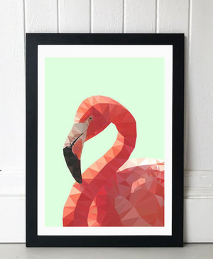 Geometric Flamingo, Print A3