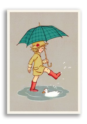 Umbrella, Belle & Boo Playtime Postcards