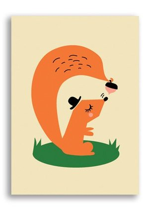 Squirrel, Darling Clementine Postcards