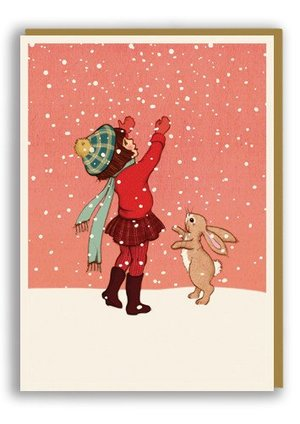 Belle&Boo/Catching Snow  (Xmas), Greeting Card