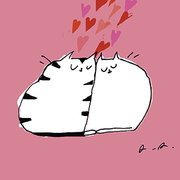Love cats with hearts, Greeting Card