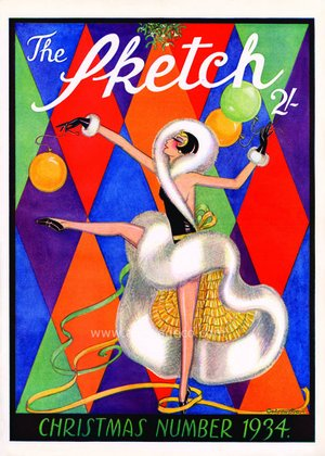 The Sketch Magazine Christmas Cover, 1934, Greeting Card
